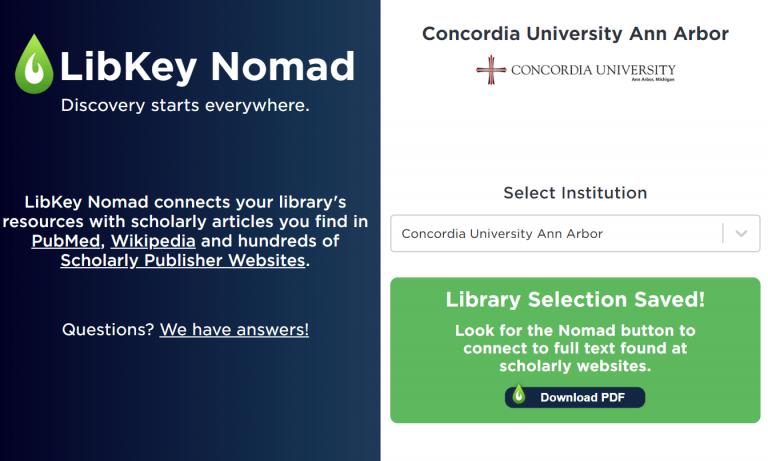 Screenshot of libkey nomad installation